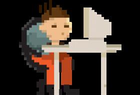 A developer coding on his computer