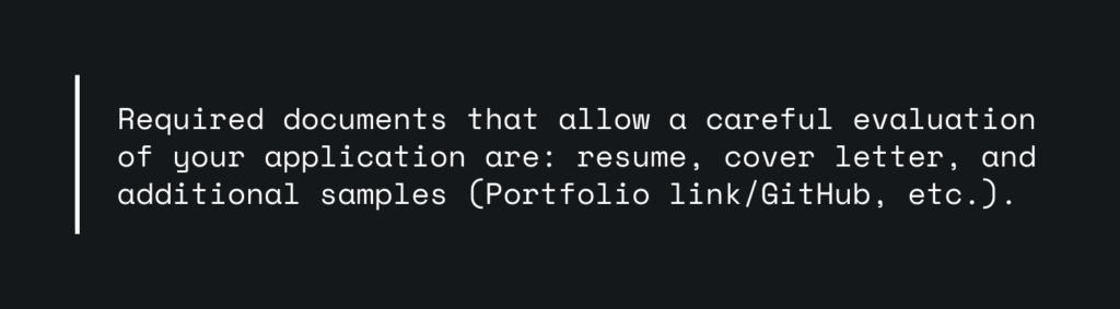 A quote from a vacancy that requires sending a cover letter.